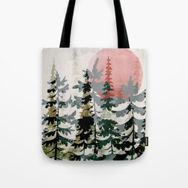 Forest Trees and Red Sun Tote Bag