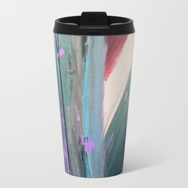 Eye of the Beholder [4]: a colorful, vibrant abstract in purples, blues, orange, pink, and gold Travel Mug