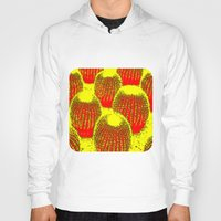cacti Hoodies featuring Orange Cacti  by Ethna Gillespie