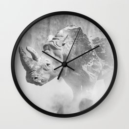 Rhino Photography | Animal |  Landscape | Abstract | Niagara Falls | Nature | Black and White Wall Clock