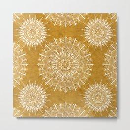 Vintage Mandala on Gold Metal Print