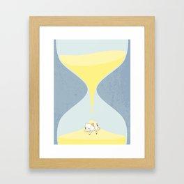 Cat In The Sand Clock Framed Art Print