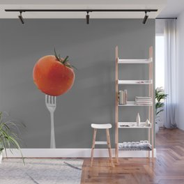 fork with tomato - grey Wall Mural