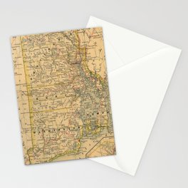 Vintage Map of Rhode Island (1875) Stationery Cards
