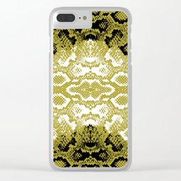 Snake skin scales texture. Seamless pattern black yellow gold white background. simple ornament Clear iPhone Case