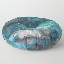 Cerulean Blue Marble Floor Pillow