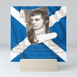 Selkirk Grace Burns Night And Scottish Saltire Mini Art Print