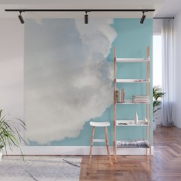 Cotton Clouds Teal Sky Wall Mural