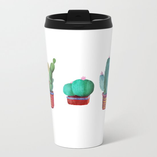 5 little cactus Metal Travel Mug