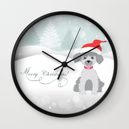 merry christmas with cute puppy Wall Clock
