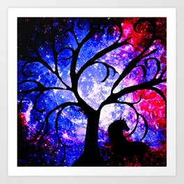 Stars Trees Moon Horse Art Print