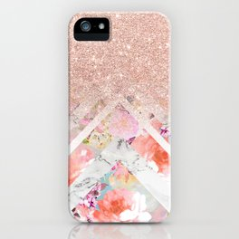 Modern rose gold glitter ombre floral watercolor white marble triangles iPhone Case