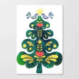Traditional Scandinavian Folk Art Tree Canvas Print