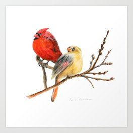 The Perfect Pair - Male and Female Cardinal by Teresa Thompson Art Print
