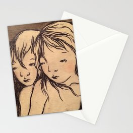 Girls caught in the wind Stationery Cards