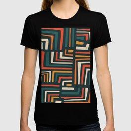 Square puzzle folk pattern T-shirt