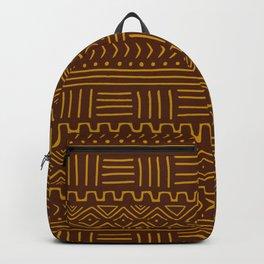 Mud Cloth on Brown Backpack