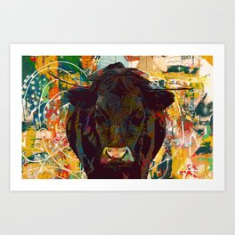Bul-ly Cow I - black cow with horns in meadow Art Print