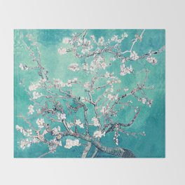 Vincent Van Gogh Almond Blossoms Turquoise Throw Blanket