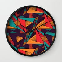 arya Wall Clocks featuring Hexagonal Lines and Triangles by Hinal Arya