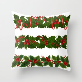 Christmas holly decoration Throw Pillow