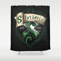 slytherin Shower Curtains featuring Slytherin Crest by Sharayah Mitchell