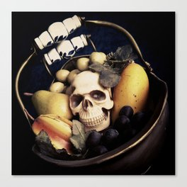 Skull & Fruit Bowl Canvas Print
