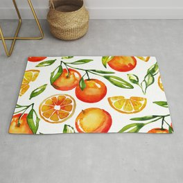 oranges watercolor tangerine fruit print Rug