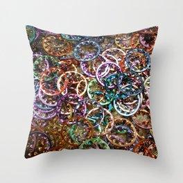 Rainbow Sprockets Throw Pillow