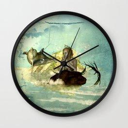 Beautiful mermaid with jumping dolphin Wall Clock