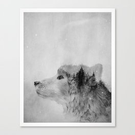 Wolf (B&W) Canvas Print
