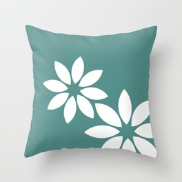 Flora2 (teal) Throw Pillow