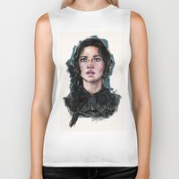 katniss Biker Tanks featuring Katniss Everdeen by fridayshooow