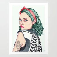 girl Art Prints featuring GIRL by Laura O'Connor