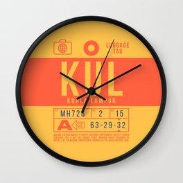 Baggage Tag B - KUL Kuala Lumpur Malaysia Wall Clock