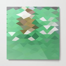 Emerald Green Abstract Low Polygon Background Metal Print