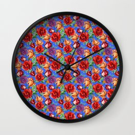 Modern red blue watercolor hand painted botanical roses Wall Clock