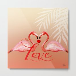 FLAMINGO LOVE | peach Metal Print