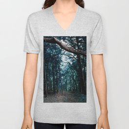 Pathway to Bliss Dark Teal Forest Unisex V-Neck
