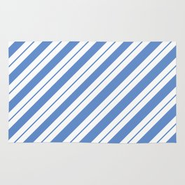 White Bands on Blue Rug