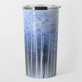 Shredded Abstract in Blue Travel Mug