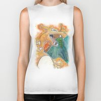 charizard Biker Tanks featuring Charizard by Luke Jonathon Fielding