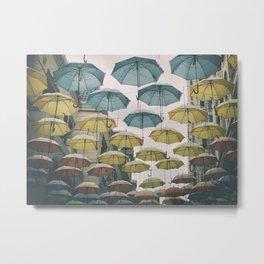 Umbrellas in the sky Metal Print