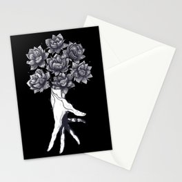 Hand with lotuses on black Stationery Cards