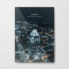 Austin Skyline Artwork Metal Print