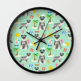 Schnauzer dog breed summer tropical dog pattern gifts schnauzers Wall Clock