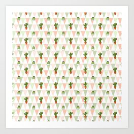 Hand painted pink coral green geometrical cactus Art Print