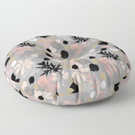 Abstract maple leaves autumn in pink and gray colors Floor Pillow