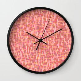 Pink Woven Burlap Texture Seamless Vector Pattern Wall Clock