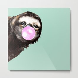 Bubble Gum Sneaky Sloth in Green Metal Print